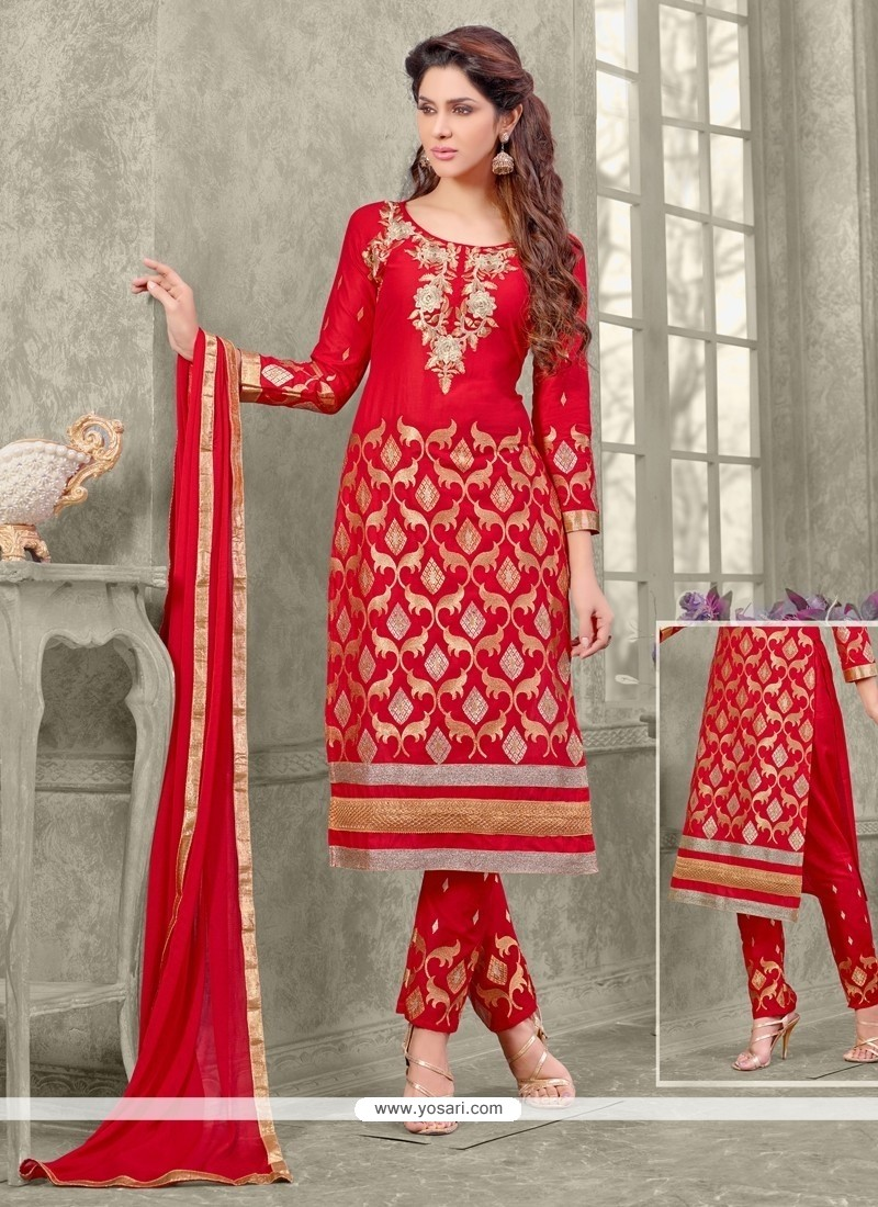 Zesty Cotton Red Zari Work Designer Straight Salwar Suit
