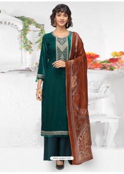 Teal Designer Wear Velvet Palazzo Salwar Suit