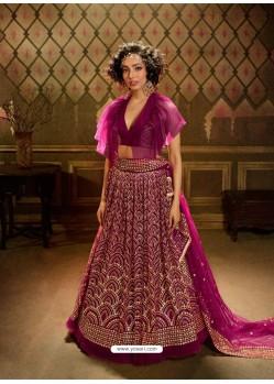 Medium Violet Stunning Embroidered Designer Soft Net Wedding Lehenga Choli