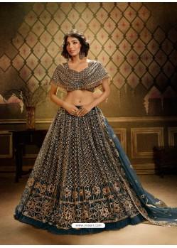 Teal Stunning Embroidered Designer Soft Net Wedding Lehenga Choli