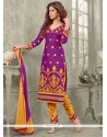 Distinctive Resham Work Cotton Purple Designer Straight Salwar Kameez