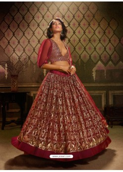 Maroon Stunning Embroidered Designer Soft Net Wedding Lehenga Choli
