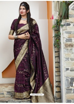 Fabulous Purple Latest Designer Party Wear Makunda Silk Wedding Sari