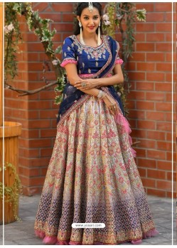 Royal Blue Embroidered Designer Wedding Lehenga Choli
