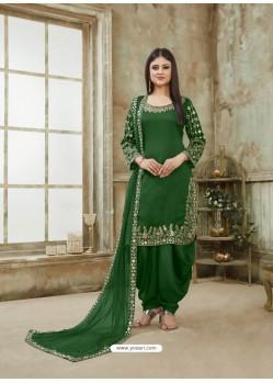 Forest Green Designer Party Wear Art Silk Punjabi Patiala Suit