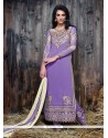Superb Purple Embroidered Work Designer Suit