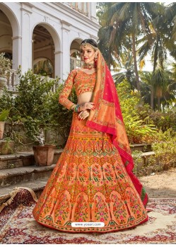 Stunning Multi Colour Embroidered Designer Banarasi Silk Wedding Lehenga Choli
