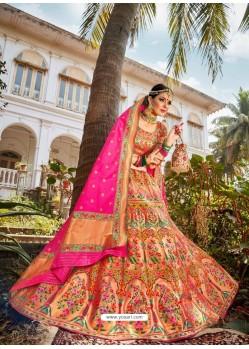 Groovy Multi Colour Embroidered Designer Banarasi Silk Wedding Lehenga Choli