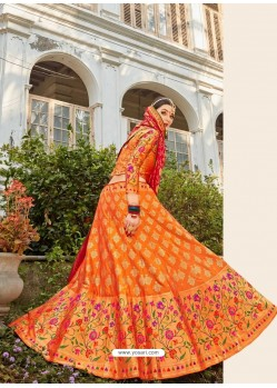 Orange Embroidered Designer Banarasi Silk Wedding Lehenga Choli