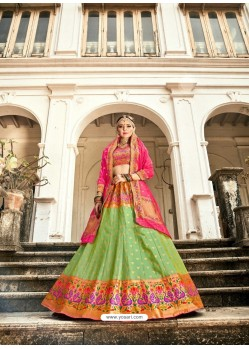 Green Embroidered Designer Banarasi Silk Wedding Lehenga Choli