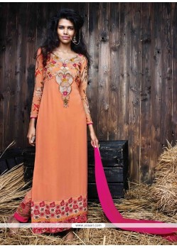Enchanting Georgette Peach Designer Suit