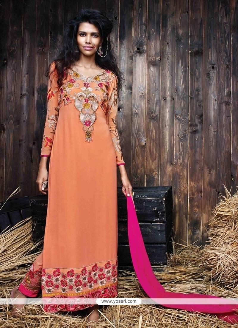 Enchanting Georgette Peach Designer Suit