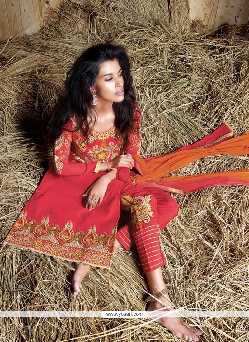 Conspicuous Resham Work Georgette Red Designer Suit