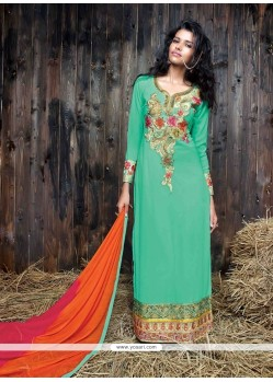 Peppy Sea Green Resham Work Designer Suit