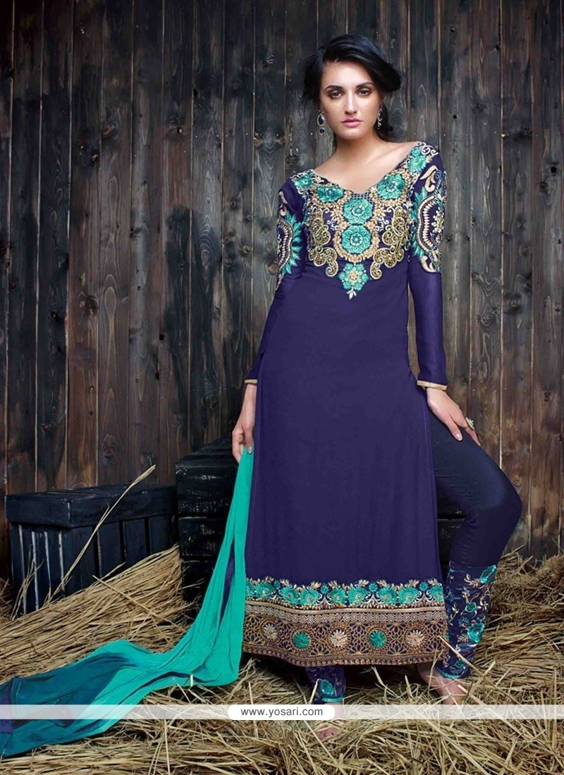 Pleasance Georgette Navy Blue Resham Work Designer Suit