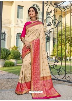 Cream Astonishing Party Wear Pure Banarasi Silk Wedding Sari