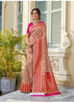 Peach Astonishing Party Wear Pure Banarasi Silk Wedding Sari