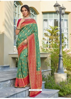 Sea Green Astonishing Party Wear Pure Banarasi Silk Wedding Sari