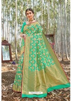 Sea Green Designer Classic Wear Upada Silk Wedding Sari