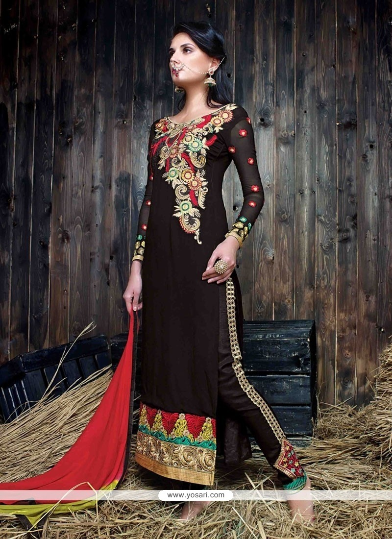 Aristocratic Black Embroidered Work Designer Suit