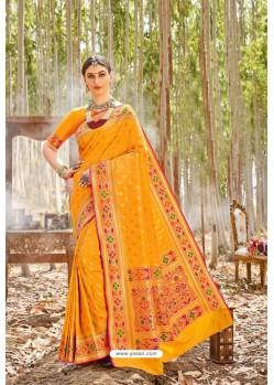 Yellow Designer Classic Wear Upada Silk Wedding Sari