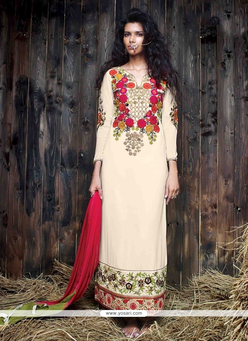 Refreshing Georgette Embroidered Work Designer Suit