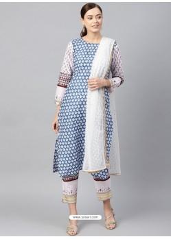 Blue Stylish Readymade Party Wear Salwar Suit