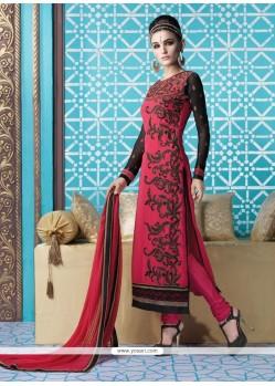 Bedazzling Georgette Pink Resham Work Designer Suit