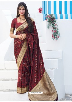 Maroon Latest Designer Party Wear Makunda Silk Wedding Sari