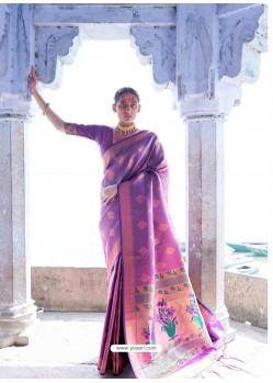 Lavender Classic Wear Designer Pure Soft Silk Sari