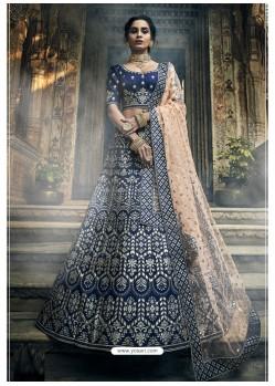 Navy Blue Ravishing Heavy Embroidered Designer Wedding Wear Lehenga Choli