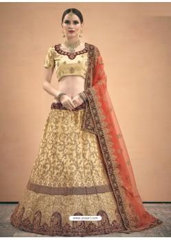 Cream Heavy Embroidered Designer Satin Wedding Lehenga Choli