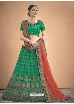 Forest Green Heavy Embroidered Designer Satin Wedding Lehenga Choli