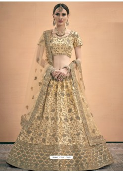 Beige Heavy Embroidered Designer Satin Wedding Lehenga Choli