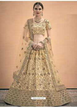 Beige Heavy Embroidered Designer Satin Wedding Lehenga Choli