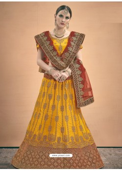 Mustard Heavy Embroidered Designer Satin Wedding Lehenga Choli