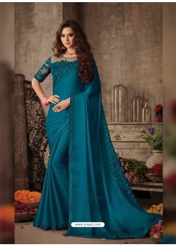 Teal Blue Stunning Party Wear Designer Miracle Silk Sari