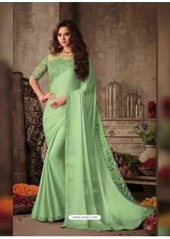 Sea Green Stunning Party Wear Designer Miracle Silk Sari