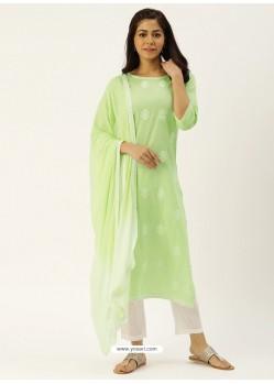 Green Latest Designer Readymade Straight Salwar Suit