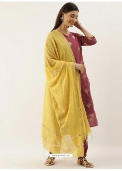 Wine Latest Designer Readymade Straight Salwar Suit