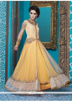 Enchanting Resham Work Net Yellow Designer Suit