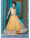 Enchanting Resham Work Net Yellow Designer Suit