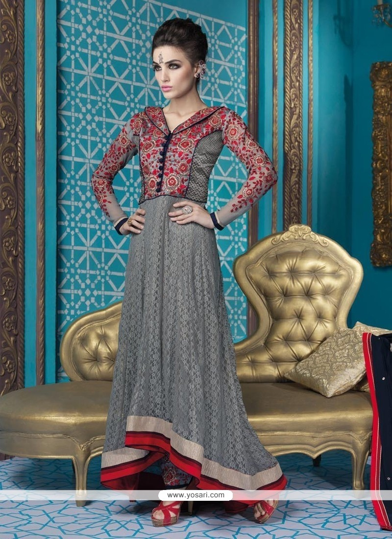 Spellbinding Net Embroidered Work Designer Suit