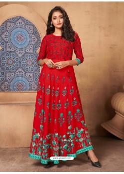 Red Designer Printed Party Wear Maxi Long Rayon Kurti