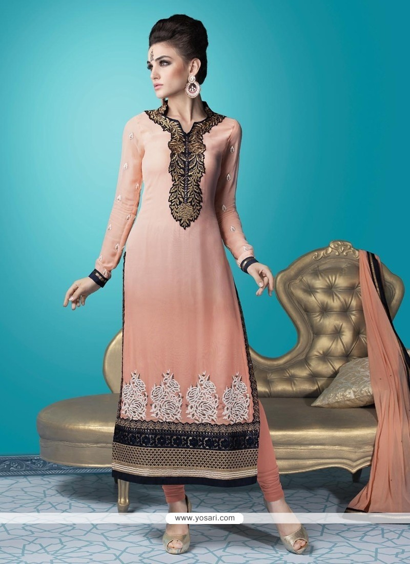 Sunshine Georgette Embroidered Work Churidar Designer Suit