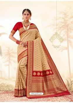 Beige Latest Designer Handloom Silk Wedding Sari