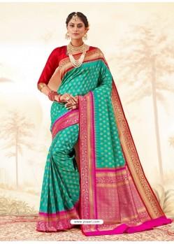 Turquoise Latest Designer Handloom Silk Wedding Sari