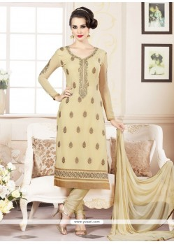 Classy Faux Georgette Embroidered Work Churidar Designer Suit