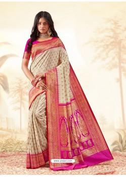 Light Beige Latest Designer Handloom Silk Wedding Sari