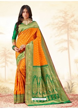 Orange Latest Designer Handloom Silk Wedding Sari